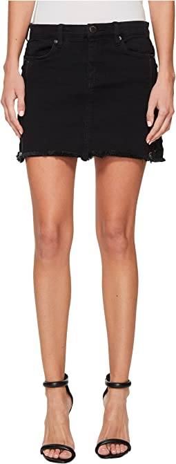 Blank NYC Black Mini Skirt with Lacing and Zipper Detail in Be A Frayed