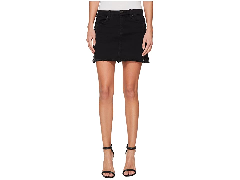 Blank NYC Black Mini Skirt with Lacing and Zipper Detail in Be A Frayed (Be A Frayed) Women