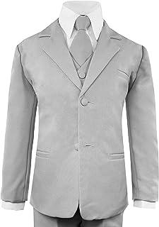 Luca Gabriel Toddler Boys 5 Piece Classic Fit No Tail Formal Khaki Dress Suit Set