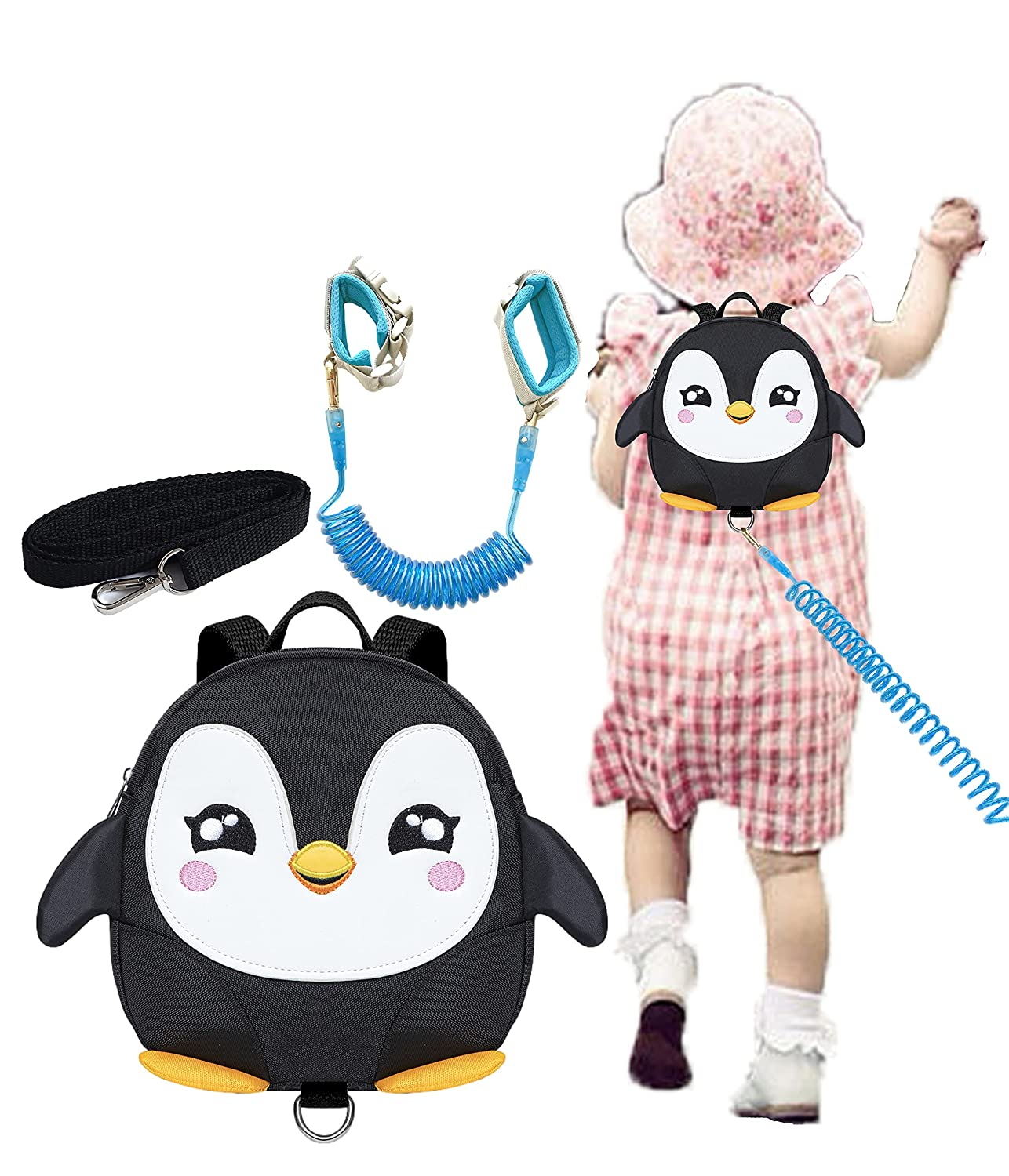 Penguin Toddlers Leash Backpacks with Anti-Lost Wristband Child Kids Wrist Link (Black