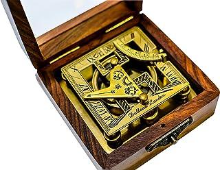 Sailor's Art Antique Brass Square Sundials with Wooden Box - Garden Dollond London - Solid Brass Nautical Sundial - Brass ...