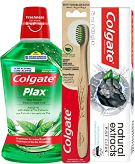 Colgate Naturals Extracts Charcoal Toothpaste, 75 ml+Plax Tea Fresh Mouthwash, 500 ml+Bamboo Toothbrush, 1 piece