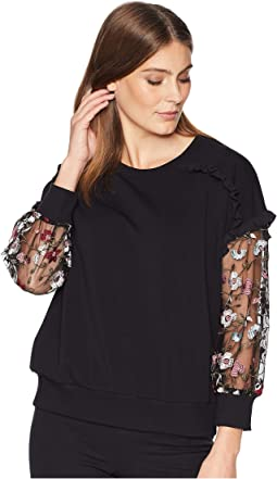Mix Media Ruffled Sweatshirt