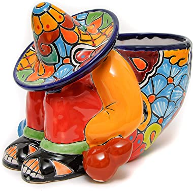 "Jayde N' Grey Talavera Mexican Pottery""Siesta"" Flower Pot Hand Painted Ceramic Plant Pot Planter Indoor Outdoor Porch Flower Vase Garden Statue Sculpture Outdoor Decor Animal Butterfly Frog"