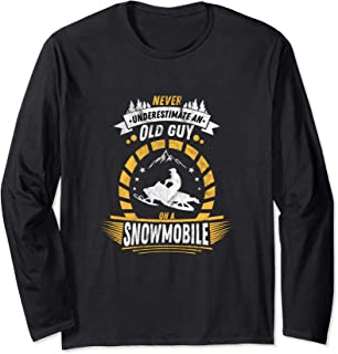 Gift for Snowmobile Fan Funny Old Guy Long Sleeve T-Shirt