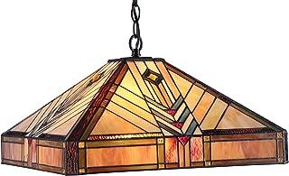 Chloe Lighting CH33422IM18-DH2 Edward Mission 2-Light Ceiling Pendant, 18-Inch, Multi-Colored
