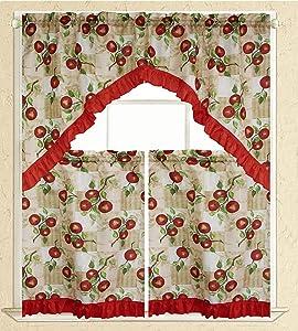 3 Piece Kitchen Curtain Swag Set, Apple Printed Design Cortland