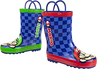 Super Mario Brothers Mario and Luigi Rain Boot for Kids, Nintendo, 100% Rubber, Waterproof, Ages 2 to 10