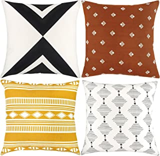 Woven Nook Decorative Throw Pillow Covers ONLY for Couch, Sofa, or Bed Set of 4 18 x 18 inch Modern Quality Design 100% Cotton Orange Yellow Black White Indy