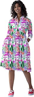 RADANYA Women's Long Sleeve Leaf Printed Casual Swing Pleated Dress Short Kurti
