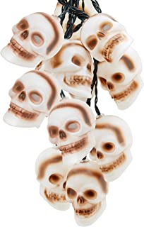 Top Race Halloween String Lights, 10 Big 3 Inch Battery Powered Jack o Lantern Blinking Lights with Motion Sensor and Halloween Music, Halloween Decorations. (Skull)