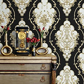 """JZ·HOME JZ27 Luxury Damask Wallpaper Rolls,20.8""""x 31ft Black/Gold/Silver Embossed Texture Victorian Wall Paper Home Hotels Wall Decoration"""