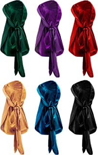 6 Pieces Stretchable Luxury Velvet Durag Cap Straps Headwraps with Long Tail and Wide Straps