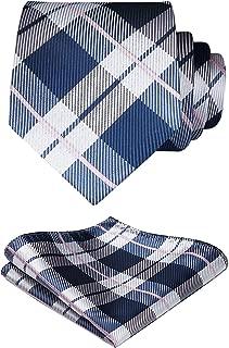 Plaid Tie Handkerchief Woven Classic Stripe Men's Necktie & Pocket Square Set