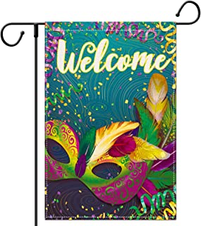 LucaSng Welcome Garden Flag, Mardi Gras Masquerade Mask House Flag, Vertical Burlap Double Sided Flags for Carnival Decora...