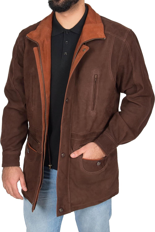 Mens Real NUBUCK Leather Parka Jacket Brown/ Tan Trim 3/4 Long Car Coat - Henry