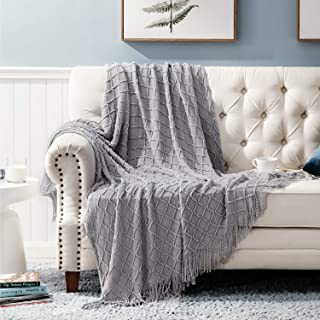 Bedsure Throw Blanket for Couch, Knit Woven Blanket, 50�60 Inch - Cozy Lightweight Decorative Blanket with Tassels for Couch, Bed, Sofa, Travel - All Seasons Suitable for Women, Men and Kids (Grey)