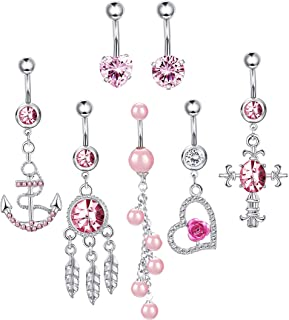 14G Stainless Steel Dangle Belly Button Rings for Women Girls Body Piercing Jewelry Set 7Pcs