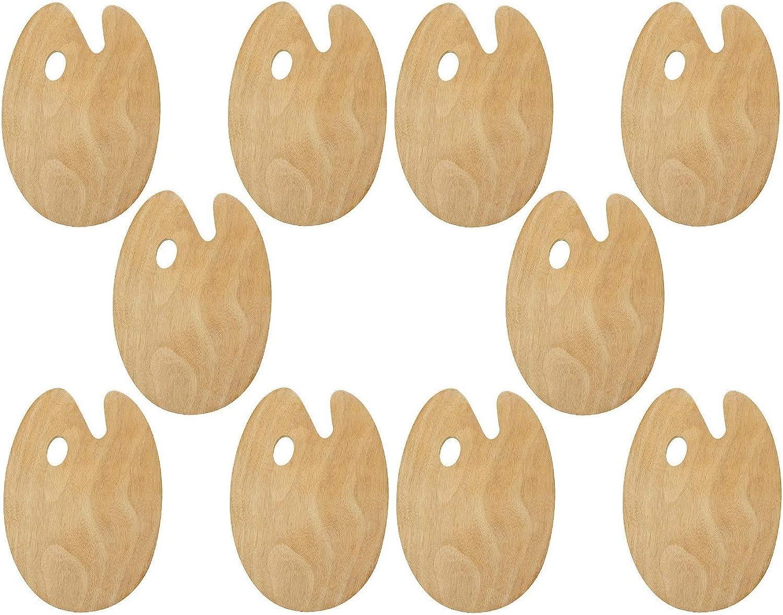 Set of 10 Artist Paint Palette Max 79% OFF Hole National uniform free shipping Wa Thumb Flat Trays Basswood