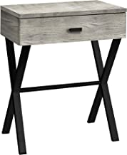 Monarch Specialties TABLE-24 H/GREY RECLAIMED WOOD/BLACK METAL ACCENT, END TABLE, NIGHT STAND, Gray