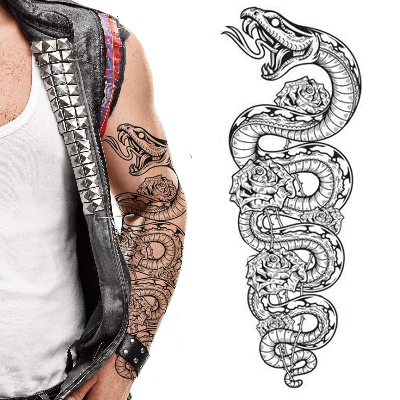 2 x Temporary Time sale tattoos snake python fu tribal flowers Sacramento Mall cobra roses