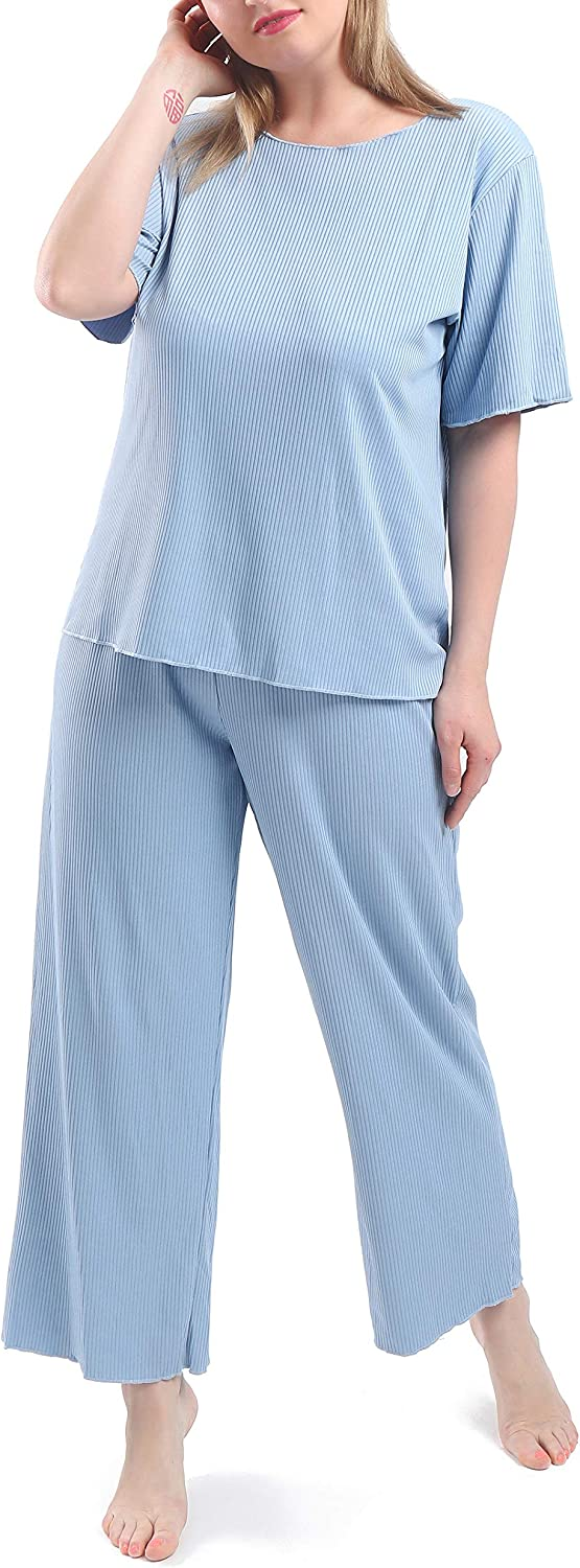 FEREMO Plus Size Pajamas for Women, 2 Piece Pjs Sets Tops and Pants, Solid Color Loose Casual Womens Pajama Sets