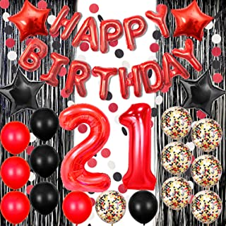 21st Birthday Decorations Happy Birthday Banner Balloons Foil Fringe Curtain for Photo Booth Backdrop Paper Garland Red Nu...