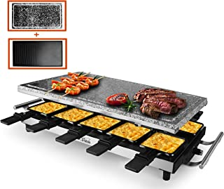 Artestia 10 Person Large Stainless Steel Electric Raclette Grill with Two Full Size Top Plates, High Power 1500W (Full Size Stone and Non-Stick Reversible Aluminum Plate for 10 persons)