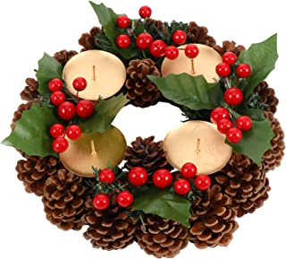 Faux Seasonal TenWaterloo 14 Inch Pine Cone and Berries Christmas Pillar Candle Holder with Glass Hurricane
