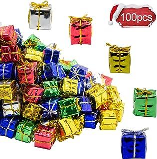 Alpurple 100 PCS Shiny Mini Boxes Ornaments-Assorted Colors Metallic Foil Wrapped Ornaments Decoration Boxes for Christmas...