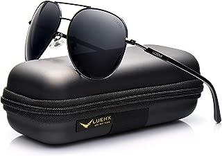 LUENX Mens Aviator Sunglasses Polarized :UV 400 Protection shades with case 60MM