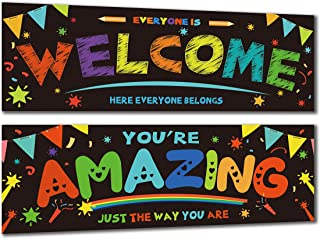 Chillake 2 Pack Welcome Banners for Classroom Decorations,Inspirational Motivational Classroom Decor Banner and Wall Decor for School/Teacher/Students, Everyone is Welcome Here Everyone Belongs