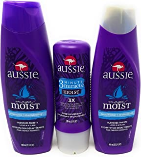 Aussie Moist Shampoo and Conditioner, 13.5 Ounce Each, Plus 3 Minute Miracle Moist, 8 Ounce