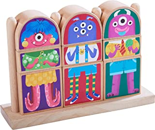 HABA Highlights Mix & Match Wooden Monster Blocks Pegging & Arranging Game with 9 Blocks for Monstrously Silly Combinations
