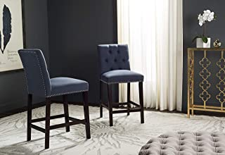 Safavieh Home Collection Norah Navy and Espresso Counter Stool (Set of 2)