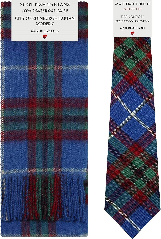 Edinburgh City Modern Tartan Plaid 100% Lambswool Scarf & Tie Gift Set
