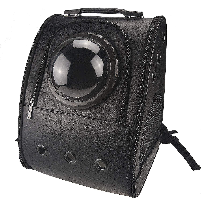 KHORE 中小型犬?猫用 ペット バッグ 用キャリーバッグ 宇宙船カプセル型軽い 折りたたみ ソ フト通気性の携帯用 (ブラック)