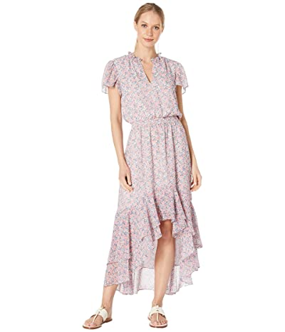 1.STATE Sunwashed Floral Mock Neck High-Low Dress (Coral Multi) Women