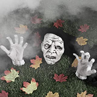Skylety Halloween Decorations Zombie Face and Arms Lawn Stakes Graveyard with 24 Pieces Maple Leaves for Halloween Scary I...