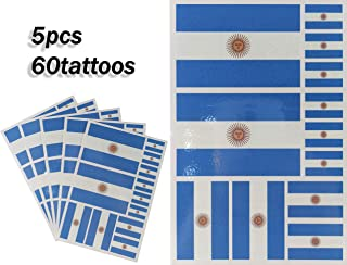 JBCD Argentina Temporary Tattoos 60 Pcs Argentine Flag Stickers, Waterproof tattoos National Flags Tattoo Patriotic Face Tattoos, Suitable for Sports Event Parties and Pride Decorations