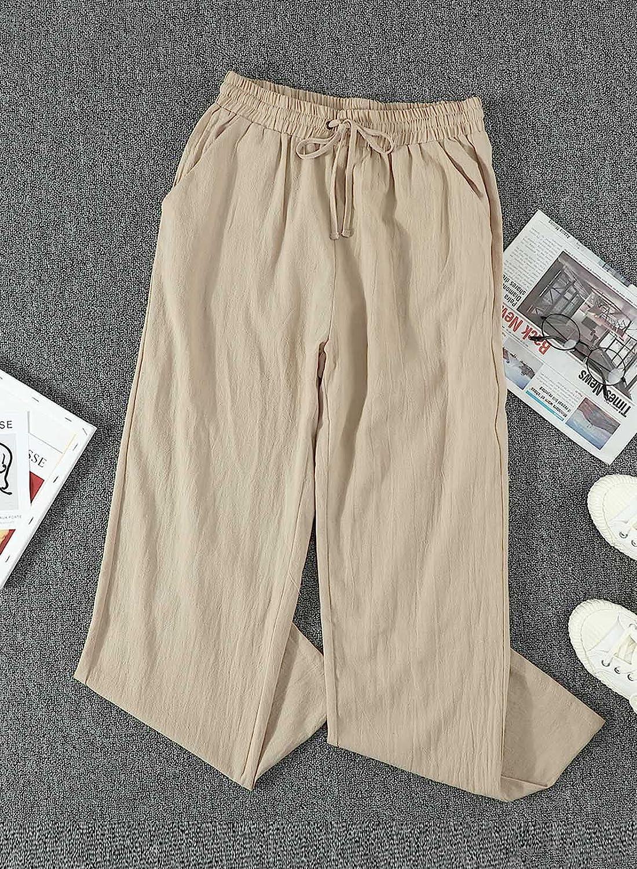 Acelitt Womens Casual Pants Capris Drawstring Elastic Waist Comfy Trousers with Pockets