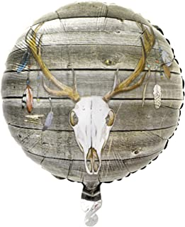 Havercamp Boho Deer Mylar Balloon – Decorative Deer Skull with Feathers-18 Inch Mylar Balloon for Outdoor Parties, Rustic Casual Stylish Charm, Girls Night, Birthday Party Supplies