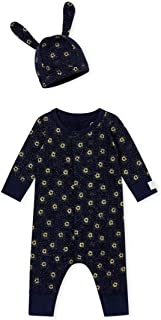 2 Pc Set, Navy and Metallic Sparked Print Romper with Hat