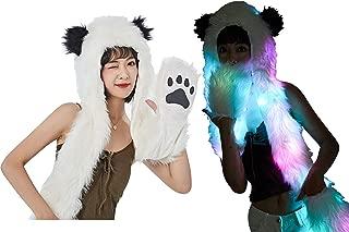 Light Up LED Color Changing Rave Spirit Animal Fluffy Fur Hat Hood