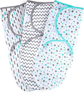 Baby Swaddle Blankets for Newborn Boy and Girl, Large 3-6 Months Old, 3 Set of Adjustable Infant Wrap, Aqua/Grey