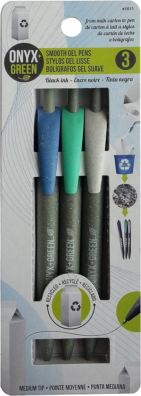 Onyx und Grün 3er Pack Gel-Tintenrollern mit Druckmechanik, recycelten Milch Karton, Med, Schwarz (1011) B00YJF08OA   Günstig