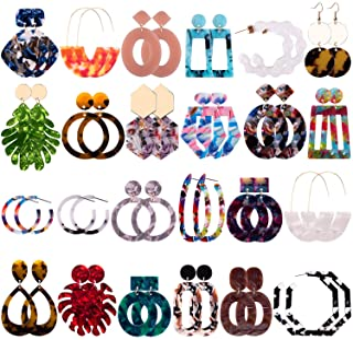 Duufin 24 Pairs Mottled Acrylic Earrings Resin Drop Dangle Earring Hoop Statement Earrings Polygonal Bohemian Fashion Jewe...