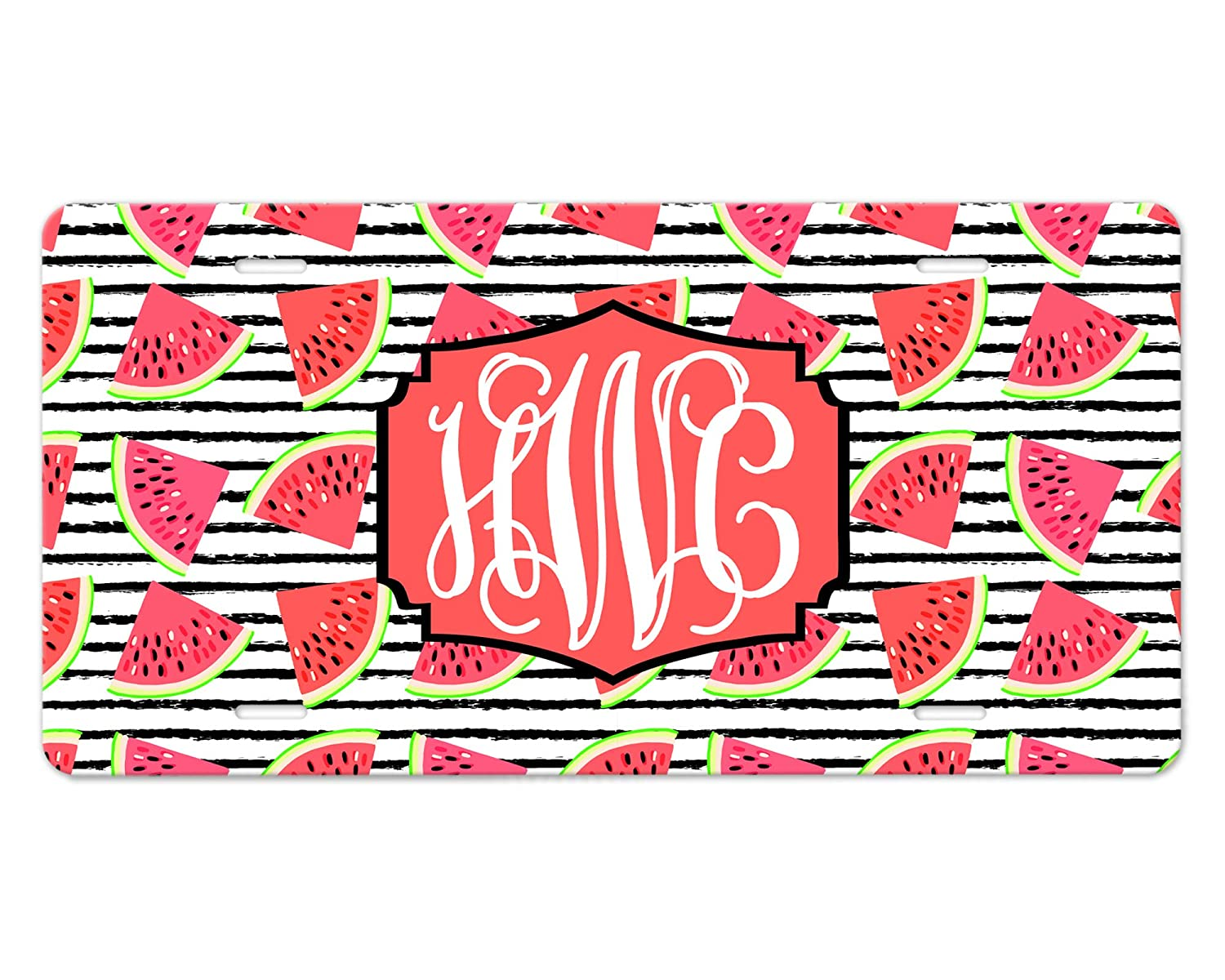 Made-to-Order Luxury License Plate - Watermelon Stripes shop Slices Pat With