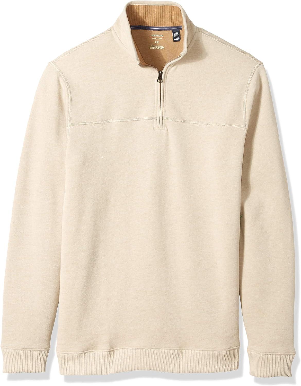 Arrow 1851 Men's Tall Saranac Long Sleeve 1/4 Zip Sueded Fleece Pullover