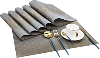 ykooe Placemats for Dining Table, Kitchen Washable Heat Resistant PVC Woven Table Placemats, Set of 6